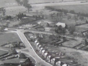 Aerial view of part of Watling Street showing St Julian's farm and the Tithe Barn